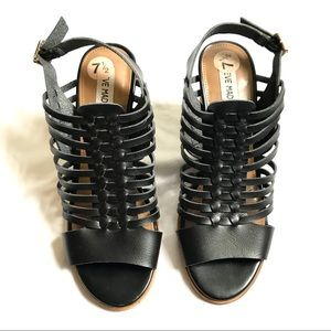 Black Steve Madden High Heel Woven Sandals 7.5 NWT